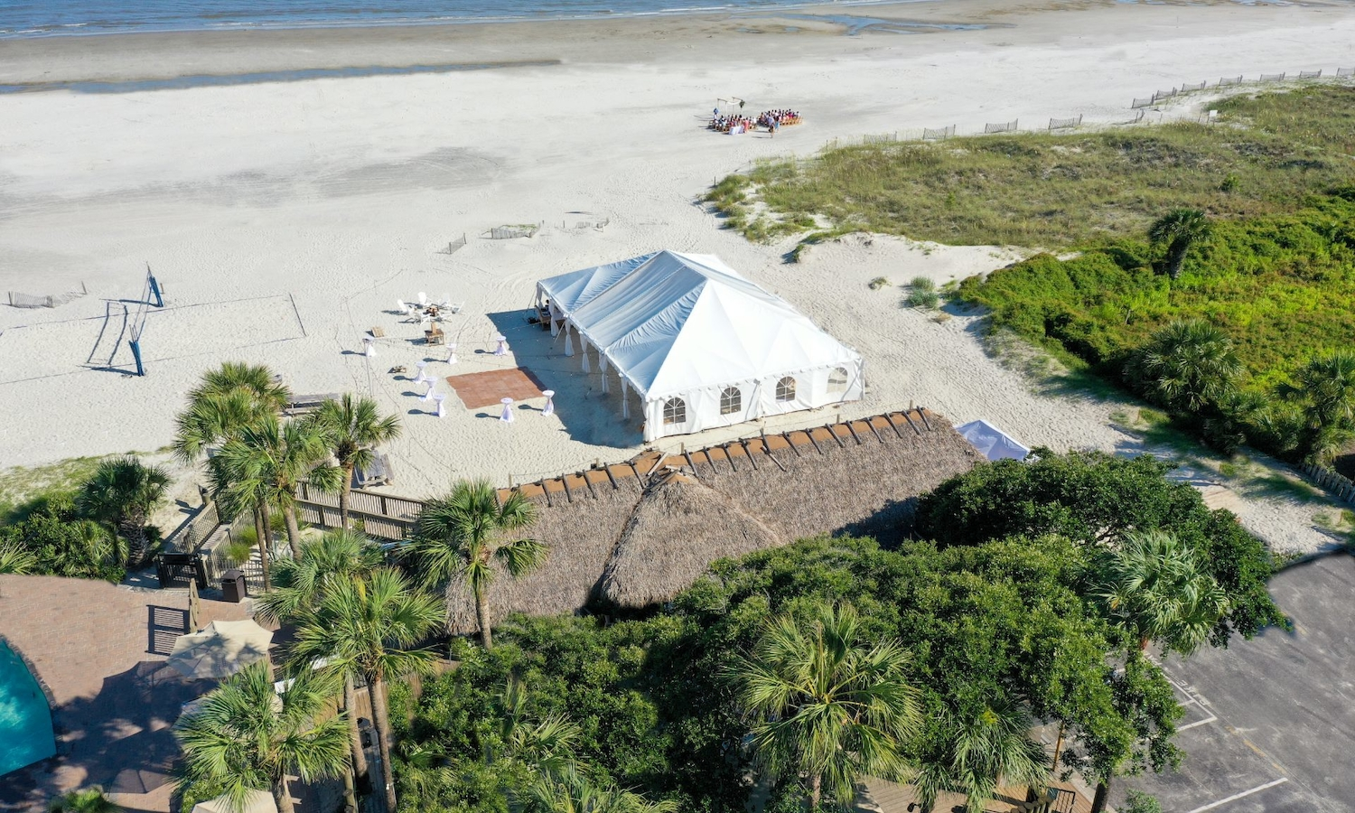 Tiki Beach Wedding Aerial
