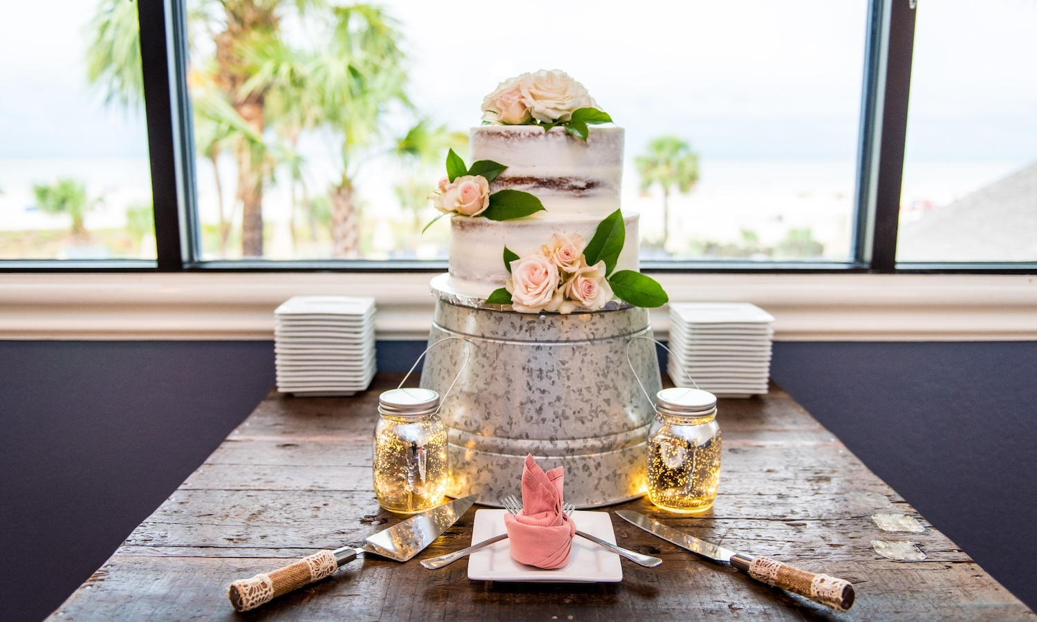 Wedding Cake in Sky Room